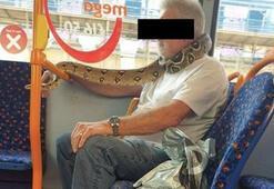 Yılanı boynuna sarıp otobüse bindi