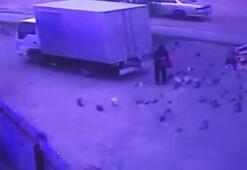 Geri geri giden kamyon güvercin besleyen adamı böyle ezdi