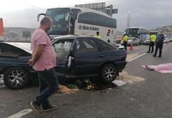 TEM'de otomobil kamyona çarptı: 1 ölü, 4 yaralı