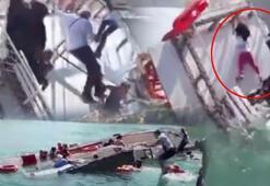 Teknede 29 kişi vardı Batma anı görüntülendi