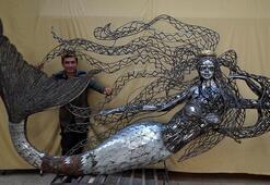 Hurda parçalarından yaptı tam 400 kilo Sahilde sergileyecek...