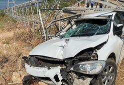 Otomobil direğin içinden geçti Burnu bile kanamadı