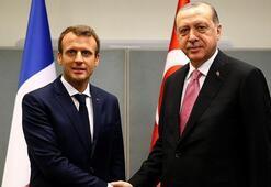 Son dakika Cumhurbaşkanı Erdoğan, Macron ile görüştü