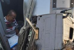 Gaziantep feci kaza TIRın şoförü yaralandı