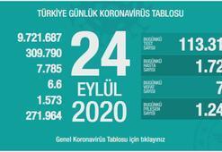 Türkiyenin günlük corona virüs tablosu ( 24 Eylül 2020 )