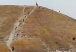 Türk bayrağını indirmeye çalışan şüpheli, daha önce terörden gözaltına alınmış