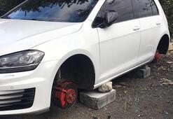 Küçükçekmecede şok eden olay Otomobilin 4 lastiği çalındı
