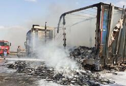 Kastamonu'da yabancı plakalı TIR, alev alev yandı
