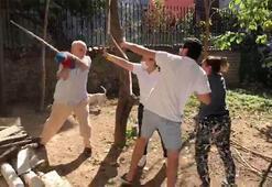 Beykozda komşular arasında kavga kamerada