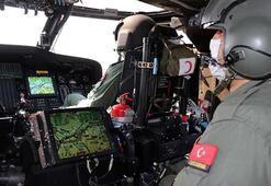 İzmirde jandarmadan helikopterli trafik denetimi