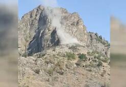 MSB görüntüleri paylaştı 2 koridorlu mağara imha edildi.