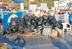 120 poşet çöp çıktı