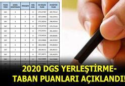 DGS taban puanları açıklandı 2020 DGS yerleştirme puanları Yerleştirme sonuçlarına ilişkin en küçük ve en büyük puanlar...