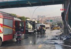Ankarada belediye otobüsü üst geçit asansörüne çarptı