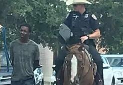 Polisler köle gibi gezdirdi Skandal görüntü