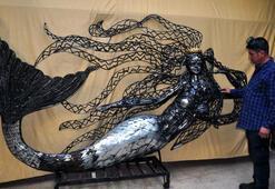Atık hurdalarla 2 yılda 35 ton ağırlığında heykeller yaptı