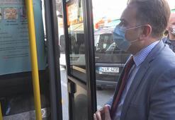 Ayakta yolcu taşıyan minibüs sürücüsü kaymakama yakalandı