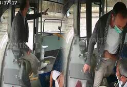 Seyir halindeki otobüsün frenine bastı