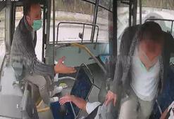 İstediği yerde inmek isteyen yolcu, seyir halindeki otobüsün frenine bastı