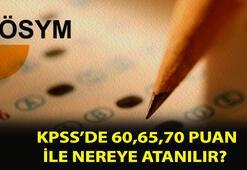 KPSS 60 puan ile alan yerler nereler 50,55, 60,65,70,75,80 puan ile KPSSde nereye atanılır, hangi bölümlere