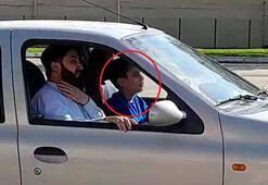 14 yaşındaki çocuğun, yanında babasıyla otomobil kullanma anı kamerada