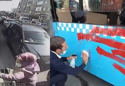 Otobüse alınmayınca şoföre kızdı, kırmızıya boyadı