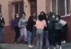 Liseli kızların erkek kavgası şok etti