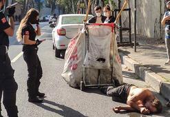 Beşiktaşta bayılan kağıt toplayıcısı ayılınca sağlıkçılara saldırdı