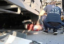 Altına girdiği tankere kamyonun çarpmasıyla öldü