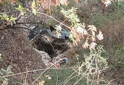Nazillide freni patlayan araç uçuruma yuvarlandı