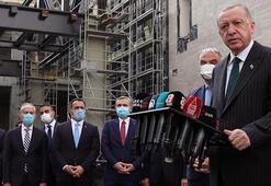 Cumhurbaşkanı Erdoğan, yapımı devam Taksim Camisinde incelemelerde bulundu
