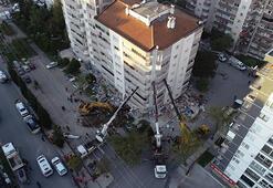 Depremde ilk 3 katı çöküp yan yatan bina, vinçlerle desteklendi
