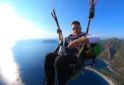 Ölüdenizin üzerinde 1500 metrede Türk kahvesi yapıp içerek uçtu