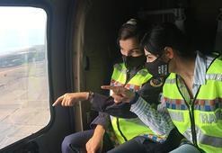 Kadın subaylar trafiği havadan denetliyor