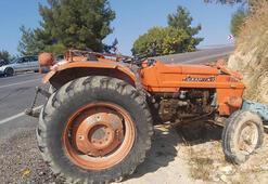 Karamanda traktör devrildi Sürücü yaralandı, eşi öldü