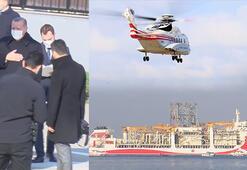 Cumhurbaşkanı Erdoğan helikopter ile Kanuni sondaj gemisinin üstünden geçti