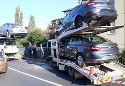 İstanbulda milyonluk kaza Otomobil taşıyan kamyonlar çarpıştı