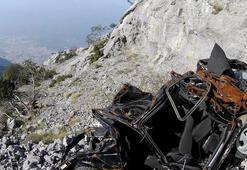 Spil'de kaderine terk edilen araçlar görüntülendi