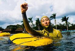 Serbest dalışçı Fatma Uruktan 3 günde 3 dünya rekoru