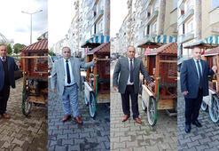 Takım elbiseli seyyar satıcı