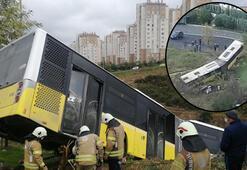 Son dakika... İstanbulda feci kaza Yolcu otobüsü araziye uçtu