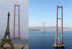 Çanakkale Köprüsünün 318 metrelik kuleleri, Eyfeli geçti