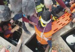 Konyada su kuyusuna düşen kadını itfaiye kurtardı