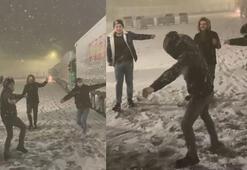 Edirneliler göbek atarak kar yağışı sevinci yaşadı