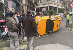 Şişli'de feci anlar Takla atan taksi 30 metre sürüklendi