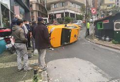 Şişli'de takla atan taksi metrelerce sürüklendi