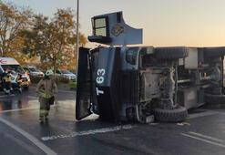 Son dakika... İstanbulda TOMA aracı devrildi Ekipler olay yerinde