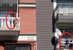 Son dakika... Bu görüntü İzmirden 2 balkon, 2 çocuk...