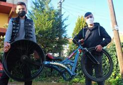 Hurda parçalarla araba lastikli bisiklet yaptılar