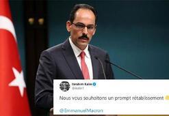 İbrahim Kalından koronavirüse yakalanan Macrona Fransızca mesaj